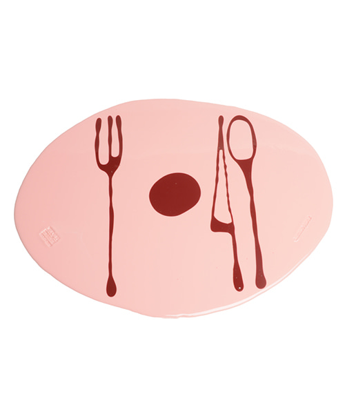 Erde-Table Mat by. Gaetano Pesce - matt pink & cherry