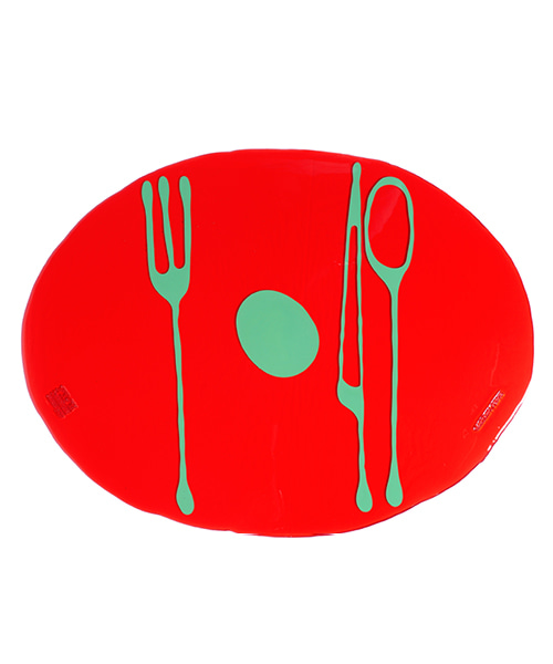 Erde-Table Mat by. Gaetano Pesce - clear red & green