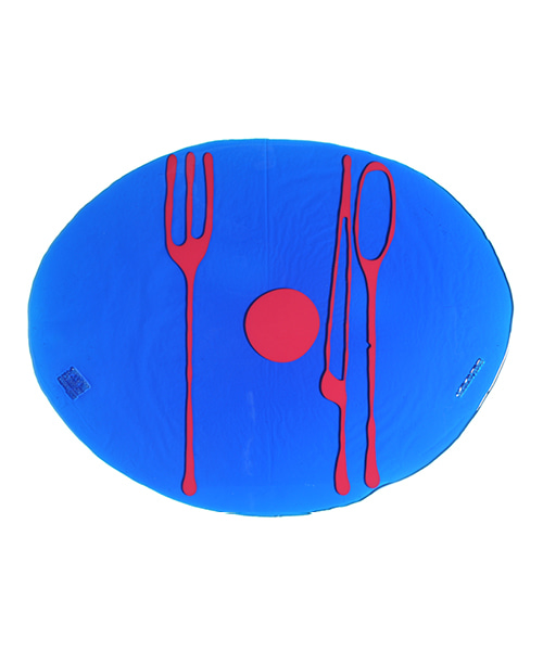 Erde-Gaetano Pesce /Table Mat by - clear blue & fuchsia